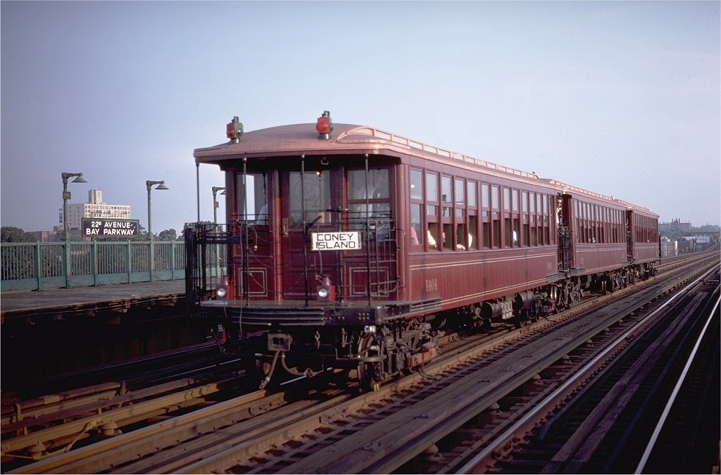 (176k, 1024x675)<br><b>Country:</b> United States<br><b>City:</b> New York<br><b>System:</b> New York City Transit<br><b>Line:</b> BMT Culver Line<br><b>Location:</b> Bay Parkway (22nd Avenue) <br><b>Route:</b> Fan Trip<br><b>Car:</b> BMT Elevated Gate Car 1404-1273-1407 <br><b>Photo by:</b> Steve Zabel<br><b>Collection of:</b> Joe Testagrose<br><b>Date:</b> 8/30/1980<br><b>Viewed (this week/total):</b> 0 / 3079