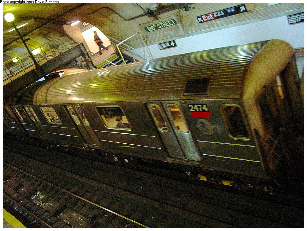 (364k, 1044x788)<br><b>Country:</b> United States<br><b>City:</b> New York<br><b>System:</b> New York City Transit<br><b>Line:</b> IRT West Side Line<br><b>Location:</b> 168th Street <br><b>Route:</b> 1<br><b>Car:</b> R-62A (Bombardier, 1984-1987)  2474 <br><b>Photo by:</b> David Pirmann<br><b>Date:</b> 11/6/2004<br><b>Viewed (this week/total):</b> 4 / 6046