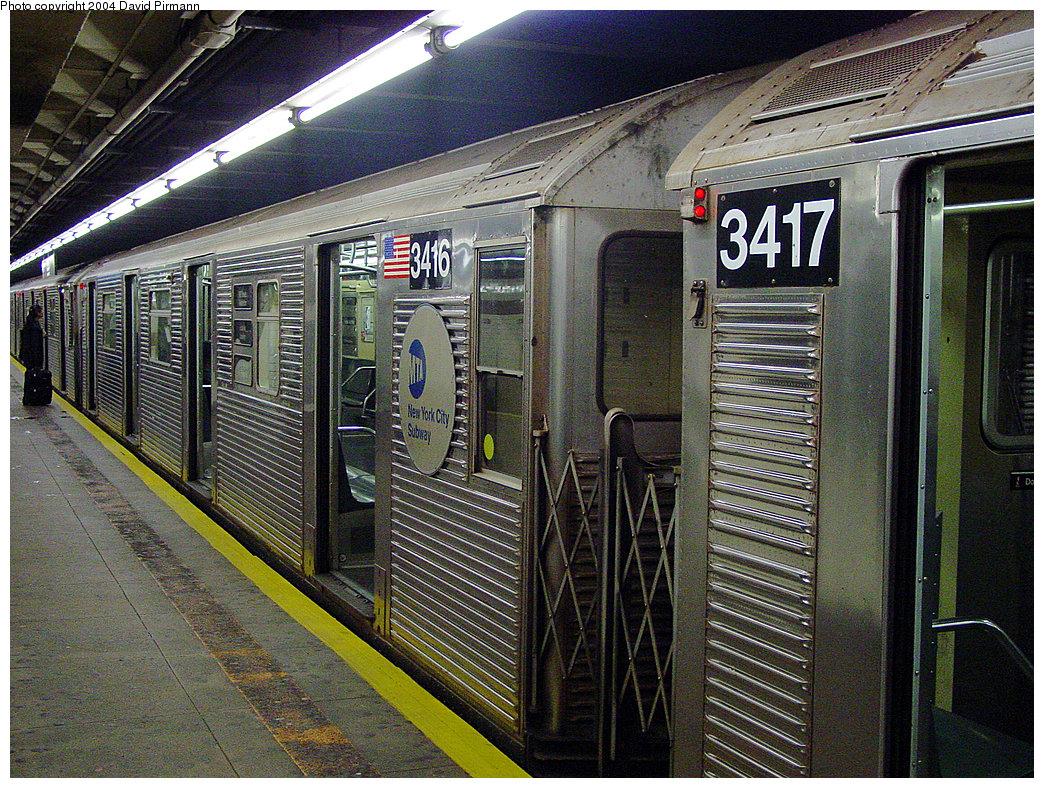 (386k, 1044x788)<br><b>Country:</b> United States<br><b>City:</b> New York<br><b>System:</b> New York City Transit<br><b>Line:</b> IND 8th Avenue Line<br><b>Location:</b> 168th Street <br><b>Route:</b> C<br><b>Car:</b> R-32 (Budd, 1964)  3416 <br><b>Photo by:</b> David Pirmann<br><b>Date:</b> 11/6/2004<br><b>Viewed (this week/total):</b> 0 / 4380