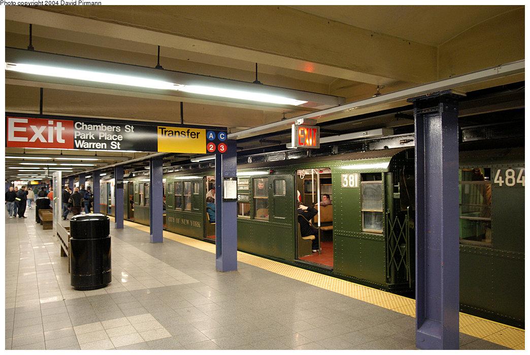 (255k, 1044x701)<br><b>Country:</b> United States<br><b>City:</b> New York<br><b>System:</b> New York City Transit<br><b>Line:</b> IND 8th Avenue Line<br><b>Location:</b> Chambers Street/World Trade Center <br><b>Route:</b> Fan Trip<br><b>Car:</b> R-1 (American Car & Foundry, 1930-1931) 381 <br><b>Photo by:</b> David Pirmann<br><b>Date:</b> 11/6/2004<br><b>Viewed (this week/total):</b> 1 / 4036