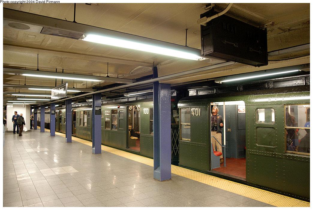 (259k, 1044x701)<br><b>Country:</b> United States<br><b>City:</b> New York<br><b>System:</b> New York City Transit<br><b>Line:</b> IND 8th Avenue Line<br><b>Location:</b> Chambers Street/World Trade Center <br><b>Route:</b> Fan Trip<br><b>Car:</b> R-4 (American Car & Foundry, 1932-1933) 401-100 <br><b>Photo by:</b> David Pirmann<br><b>Date:</b> 11/6/2004<br><b>Viewed (this week/total):</b> 3 / 3819