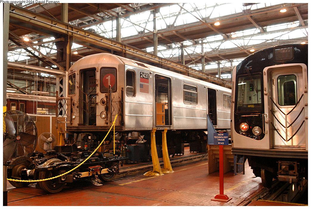 (309k, 1044x701)<br><b>Country:</b> United States<br><b>City:</b> New York<br><b>System:</b> New York City Transit<br><b>Location:</b> 207th Street Shop<br><b>Car:</b> R-62A (Bombardier, 1984-1987)  2431 <br><b>Photo by:</b> David Pirmann<br><b>Date:</b> 11/6/2004<br><b>Viewed (this week/total):</b> 1 / 3486