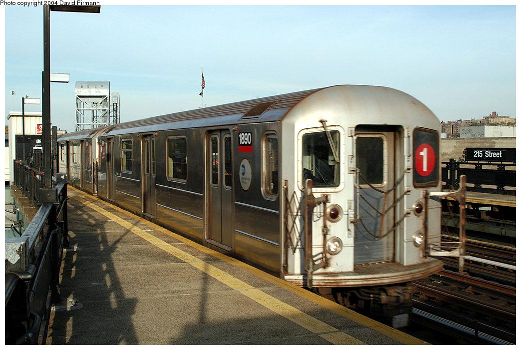 (244k, 1044x701)<br><b>Country:</b> United States<br><b>City:</b> New York<br><b>System:</b> New York City Transit<br><b>Line:</b> IRT West Side Line<br><b>Location:</b> 215th Street <br><b>Route:</b> 1<br><b>Car:</b> R-62A (Bombardier, 1984-1987)  1890 <br><b>Photo by:</b> David Pirmann<br><b>Date:</b> 11/6/2004<br><b>Viewed (this week/total):</b> 0 / 3691