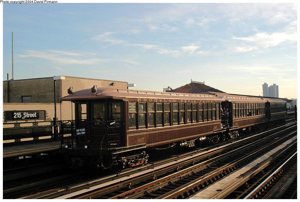 (255k, 1044x701)<br><b>Country:</b> United States<br><b>City:</b> New York<br><b>System:</b> New York City Transit<br><b>Line:</b> IRT West Side Line<br><b>Location:</b> 215th Street <br><b>Route:</b> Fan Trip<br><b>Car:</b> BMT Elevated Gate Car 1407-1273-1404 <br><b>Photo by:</b> David Pirmann<br><b>Date:</b> 11/6/2004<br><b>Viewed (this week/total):</b> 3 / 2749