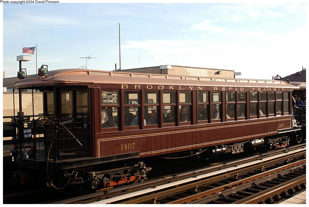(257k, 1044x701)<br><b>Country:</b> United States<br><b>City:</b> New York<br><b>System:</b> New York City Transit<br><b>Line:</b> IRT West Side Line<br><b>Location:</b> 215th Street <br><b>Route:</b> Fan Trip<br><b>Car:</b> BMT Elevated Gate Car 1407 <br><b>Photo by:</b> David Pirmann<br><b>Date:</b> 11/6/2004<br><b>Viewed (this week/total):</b> 1 / 2710