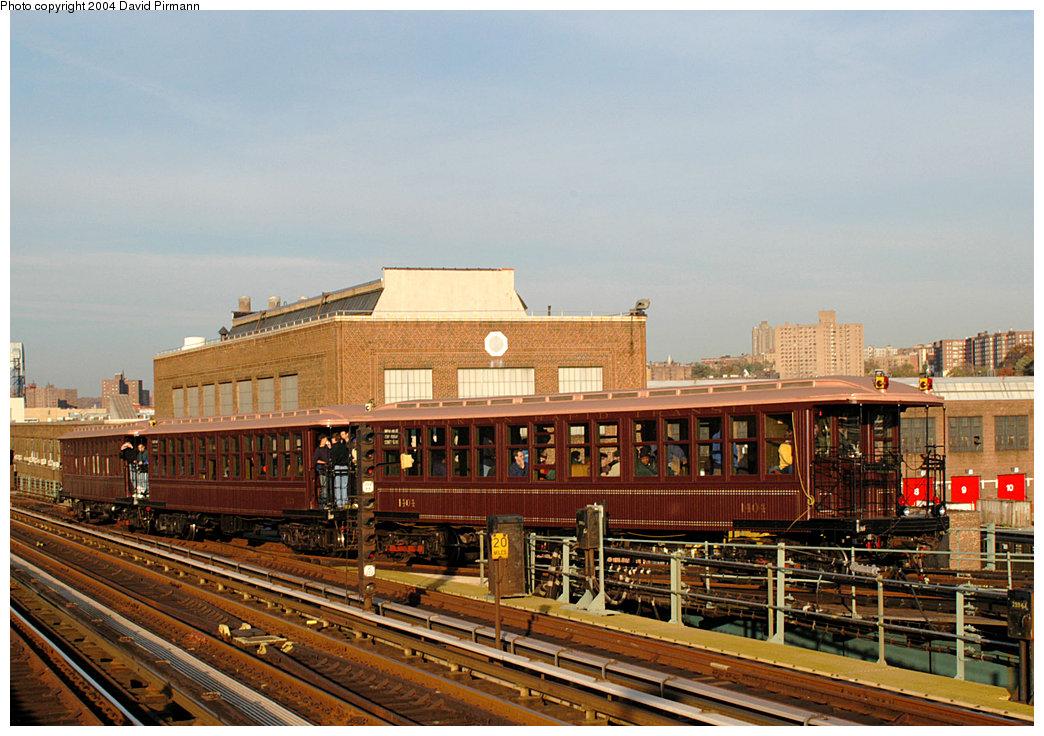 (279k, 1044x736)<br><b>Country:</b> United States<br><b>City:</b> New York<br><b>System:</b> New York City Transit<br><b>Line:</b> IRT West Side Line<br><b>Location:</b> 207th Street<br><b>Route:</b> Fan Trip<br><b>Car:</b> BMT Elevated Gate Car 1404-1273-1407 <br><b>Photo by:</b> David Pirmann<br><b>Date:</b> 11/6/2004<br><b>Viewed (this week/total):</b> 4 / 3694
