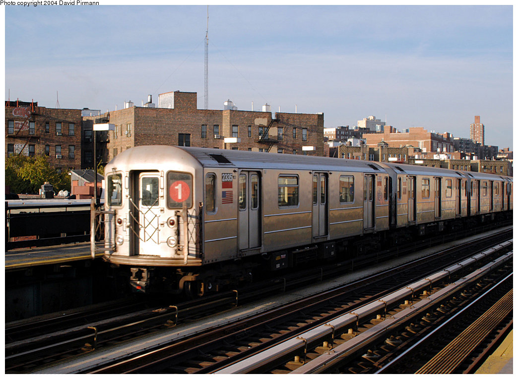 (275k, 1044x765)<br><b>Country:</b> United States<br><b>City:</b> New York<br><b>System:</b> New York City Transit<br><b>Line:</b> IRT West Side Line<br><b>Location:</b> 207th Street <br><b>Route:</b> 1<br><b>Car:</b> R-62A (Bombardier, 1984-1987)  2335 <br><b>Photo by:</b> David Pirmann<br><b>Date:</b> 11/6/2004<br><b>Viewed (this week/total):</b> 0 / 2920