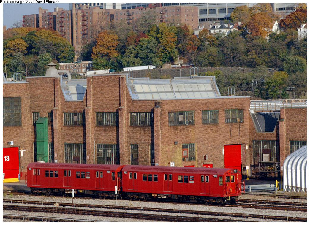 (352k, 1044x758)<br><b>Country:</b> United States<br><b>City:</b> New York<br><b>System:</b> New York City Transit<br><b>Location:</b> 207th Street Yard<br><b>Car:</b> R-33 Main Line (St. Louis, 1962-63) 9016-7 <br><b>Photo by:</b> David Pirmann<br><b>Date:</b> 11/6/2004<br><b>Viewed (this week/total):</b> 4 / 3755