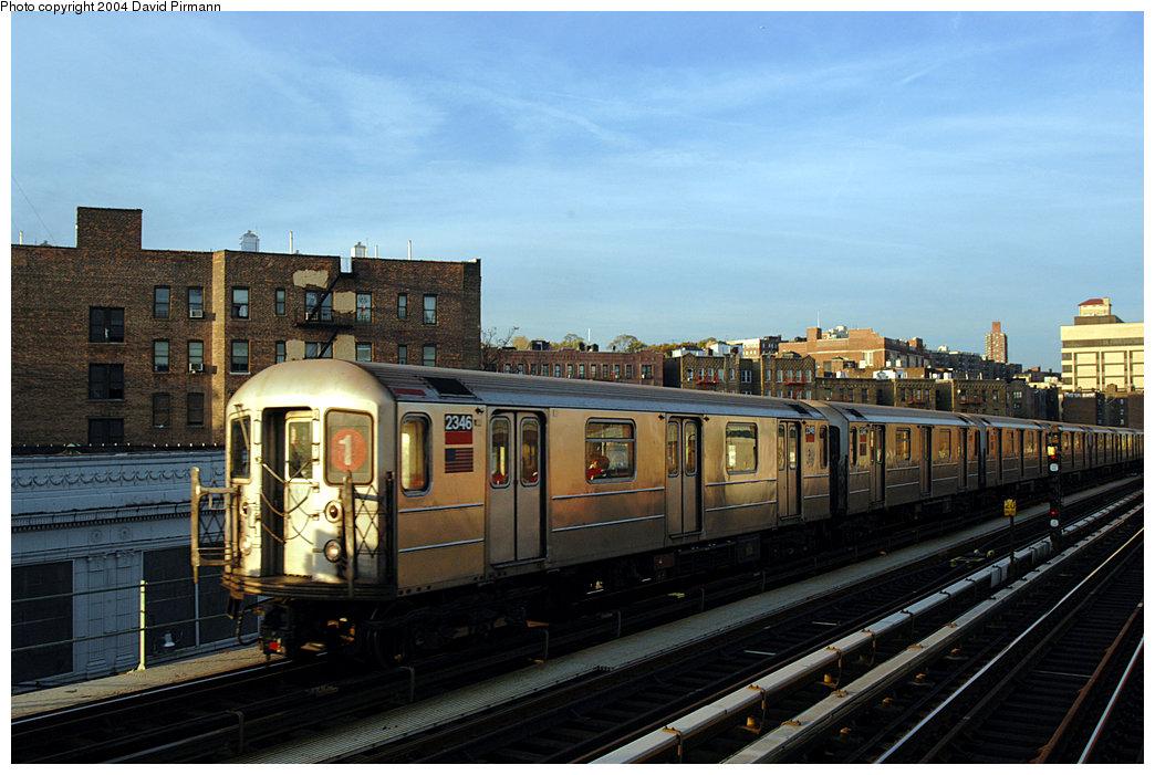 (228k, 1044x701)<br><b>Country:</b> United States<br><b>City:</b> New York<br><b>System:</b> New York City Transit<br><b>Line:</b> IRT West Side Line<br><b>Location:</b> 207th Street <br><b>Route:</b> 1<br><b>Car:</b> R-62A (Bombardier, 1984-1987)  2346 <br><b>Photo by:</b> David Pirmann<br><b>Date:</b> 11/6/2004<br><b>Viewed (this week/total):</b> 2 / 3134