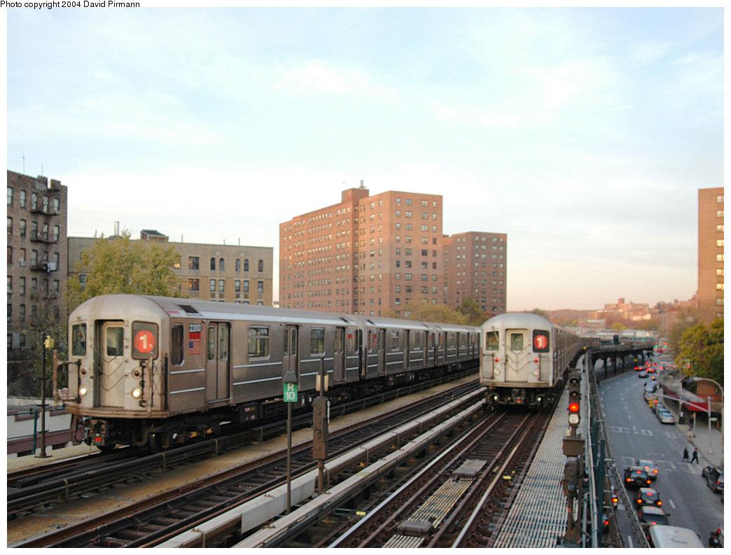 (235k, 1044x793)<br><b>Country:</b> United States<br><b>City:</b> New York<br><b>System:</b> New York City Transit<br><b>Line:</b> IRT West Side Line<br><b>Location:</b> 225th Street <br><b>Route:</b> 1<br><b>Car:</b> R-62A (Bombardier, 1984-1987)  2200 <br><b>Photo by:</b> David Pirmann<br><b>Date:</b> 11/6/2004<br><b>Viewed (this week/total):</b> 0 / 4697