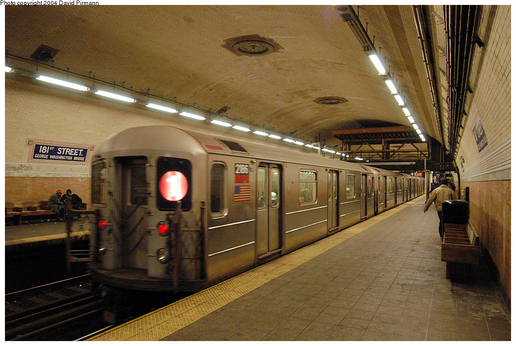 (317k, 1044x701)<br><b>Country:</b> United States<br><b>City:</b> New York<br><b>System:</b> New York City Transit<br><b>Line:</b> IRT West Side Line<br><b>Location:</b> 181st Street<br><b>Route:</b> 1<br><b>Car:</b> R-62A (Bombardier, 1984-1987) 2186 <br><b>Photo by:</b> David Pirmann<br><b>Date:</b> 11/6/2004<br><b>Viewed (this week/total):</b> 1 / 3893