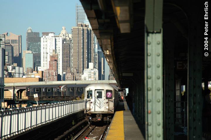 (146k, 720x478)<br><b>Country:</b> United States<br><b>City:</b> New York<br><b>System:</b> New York City Transit<br><b>Line:</b> IRT Flushing Line<br><b>Location:</b> Queensborough Plaza <br><b>Route:</b> 7<br><b>Car:</b> R-62A (Bombardier, 1984-1987)  1960 <br><b>Photo by:</b> Peter Ehrlich<br><b>Date:</b> 10/28/2004<br><b>Viewed (this week/total):</b> 0 / 4756