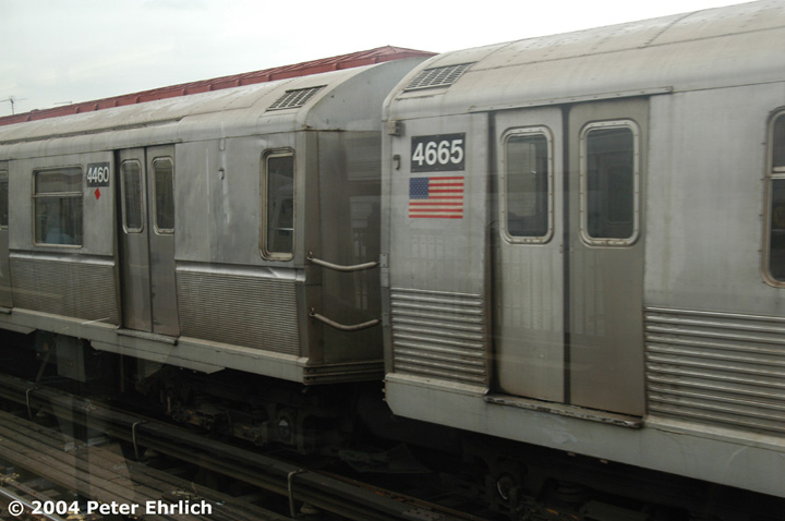 (98k, 720x478)<br><b>Country:</b> United States<br><b>City:</b> New York<br><b>System:</b> New York City Transit<br><b>Line:</b> BMT Astoria Line<br><b>Location:</b> 36th/Washington Aves. <br><b>Route:</b> W<br><b>Car:</b> R-40M (St. Louis, 1969)  4460/4665 <br><b>Photo by:</b> Peter Ehrlich<br><b>Date:</b> 10/29/2004<br><b>Notes:</b> R40M 4460 and R42 4665 have been mated and typically run with other R40M's.<br><b>Viewed (this week/total):</b> 3 / 4433