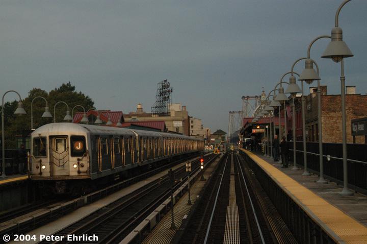 (132k, 720x478)<br><b>Country:</b> United States<br><b>City:</b> New York<br><b>System:</b> New York City Transit<br><b>Line:</b> BMT Nassau Street/Jamaica Line<br><b>Location:</b> Marcy Avenue <br><b>Route:</b> J<br><b>Car:</b> R-42 (St. Louis, 1969-1970)  4573 <br><b>Photo by:</b> Peter Ehrlich<br><b>Date:</b> 10/27/2004<br><b>Viewed (this week/total):</b> 0 / 3567