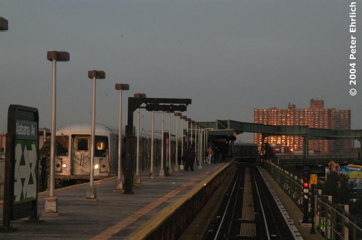 (123k, 720x478)<br><b>Country:</b> United States<br><b>City:</b> New York<br><b>System:</b> New York City Transit<br><b>Line:</b> BMT Nassau Street/Jamaica Line<br><b>Location:</b> Alabama Avenue <br><b>Route:</b> J<br><b>Car:</b> R-42 (St. Louis, 1969-1970)  4929 <br><b>Photo by:</b> Peter Ehrlich<br><b>Date:</b> 10/27/2004<br><b>Viewed (this week/total):</b> 3 / 5052
