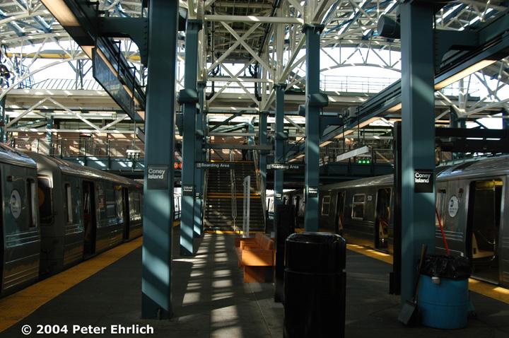 (177k, 720x478)<br><b>Country:</b> United States<br><b>City:</b> New York<br><b>System:</b> New York City Transit<br><b>Location:</b> Coney Island/Stillwell Avenue<br><b>Route:</b> Q<br><b>Car:</b> R-68/R-68A Series (Number Unknown)  <br><b>Photo by:</b> Peter Ehrlich<br><b>Date:</b> 10/28/2004<br><b>Viewed (this week/total):</b> 0 / 3476