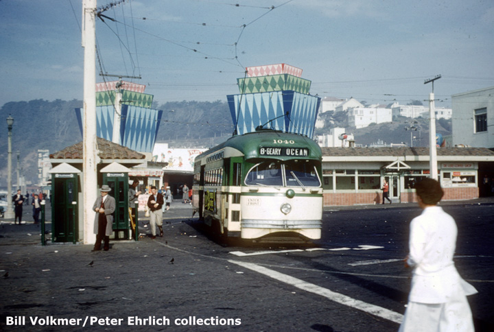 (141k, 720x484)<br><b>Country:</b> United States<br><b>City:</b> San Francisco/Bay Area, CA<br><b>System:</b> SF MUNI<br><b>Location:</b> Playland <br><b>Car:</b> SF MUNI PCC Baby Ten (St. Louis Car Co, 1951)  1040 <br><b>Collection of:</b> Bill Volkmer/Peter Ehrlich<br><b>Date:</b> 12/30/1956<br><b>Notes:</b> After the B-Geary was abandoned on 12/29/56, Muni's last PCC was used for a Farewell fantrip.<br><b>Viewed (this week/total):</b> 1 / 2584
