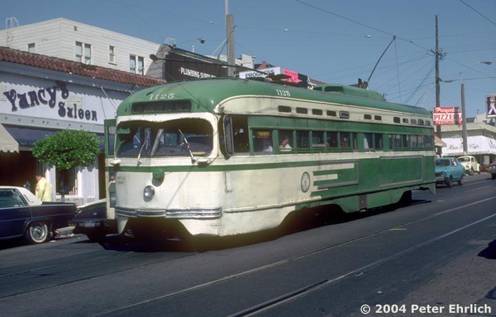 (127k, 720x461)<br><b>Country:</b> United States<br><b>City:</b> San Francisco/Bay Area, CA<br><b>System:</b> SF MUNI<br><b>Line:</b> MUNI Metro (N-Judah)<br><b>Location:</b> 9th/Irving <br><b>Car:</b> SF MUNI PCC St. Louis (St. Louis Car Co, 1946)  1125 <br><b>Photo by:</b> Peter Ehrlich<br><b>Date:</b> 9/19/1982<br><b>Notes:</b> Last day of regular PCC service in San Francisco.<br><b>Viewed (this week/total):</b> 2 / 2971