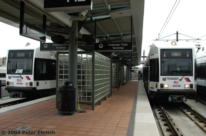 (131k, 720x478)<br><b>Country:</b> United States<br><b>City:</b> Hoboken, NJ<br><b>System:</b> Hudson Bergen Light Rail<br><b>Location:</b> Hoboken <br><b>Car:</b> NJT-HBLR LRV (Kinki-Sharyo, 1998-99)  2006 <br><b>Photo by:</b> Peter Ehrlich<br><b>Date:</b> 10/27/2004<br><b>Viewed (this week/total):</b> 2 / 2399