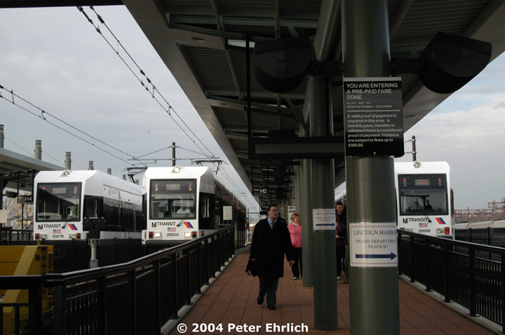 (120k, 720x478)<br><b>Country:</b> United States<br><b>City:</b> Hoboken, NJ<br><b>System:</b> Hudson Bergen Light Rail<br><b>Location:</b> Hoboken <br><b>Car:</b> NJT-HBLR LRV (Kinki-Sharyo, 1998-99)  2007 <br><b>Photo by:</b> Peter Ehrlich<br><b>Date:</b> 10/27/2004<br><b>Viewed (this week/total):</b> 1 / 2660