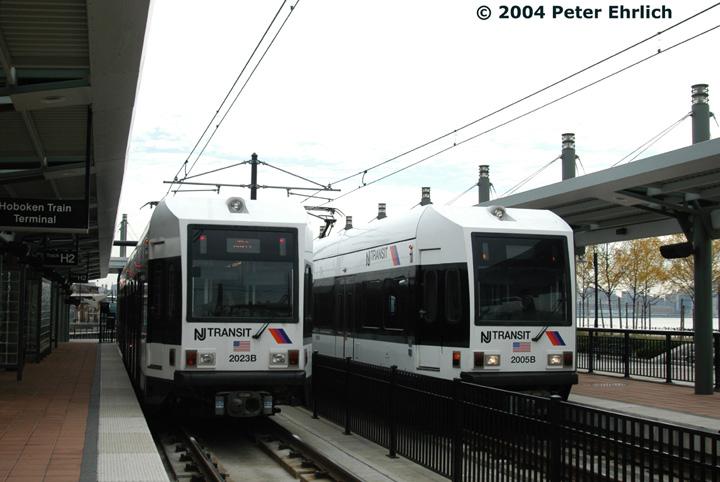 (120k, 720x482)<br><b>Country:</b> United States<br><b>City:</b> Hoboken, NJ<br><b>System:</b> Hudson Bergen Light Rail<br><b>Location:</b> Hoboken <br><b>Car:</b> NJT-HBLR LRV (Kinki-Sharyo, 1998-99)  2023/2005 <br><b>Photo by:</b> Peter Ehrlich<br><b>Date:</b> 10/27/2004<br><b>Viewed (this week/total):</b> 0 / 2267