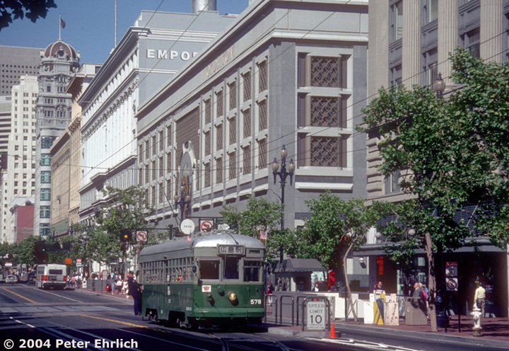 (208k, 720x496)<br><b>Country:</b> United States<br><b>City:</b> San Francisco/Bay Area, CA<br><b>System:</b> SF MUNI<br><b>Location:</b> Market/5th <br><b>Car:</b> SF MUNI Kobe/Hiroshima Tram 578J <br><b>Photo by:</b> Peter Ehrlich<br><b>Date:</b> 7/4/1989<br><b>Notes:</b> Kobe/Hiroshima 578 switching back at the 5th Street crossover during a Mini-Festival.<br><b>Viewed (this week/total):</b> 0 / 1328
