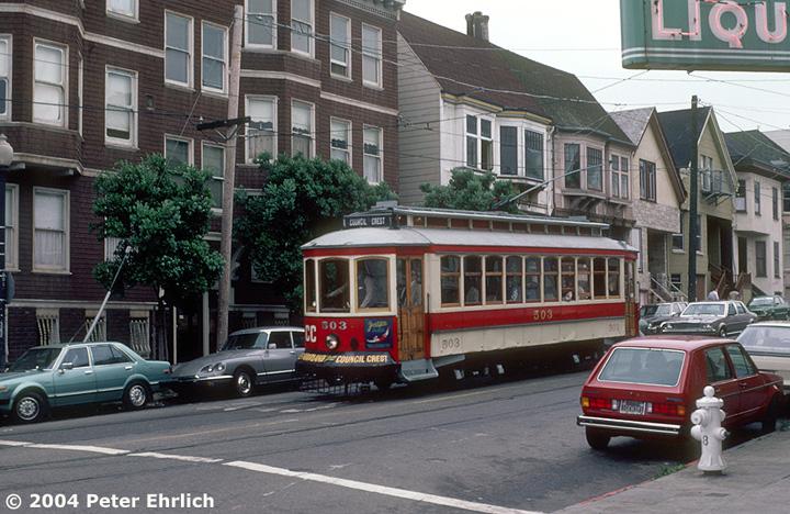 (180k, 720x468)<br><b>Country:</b> United States<br><b>City:</b> San Francisco/Bay Area, CA<br><b>System:</b> SF MUNI<br><b>Location:</b> 17th/Noe <br><b>Car:</b> Portland Traction Council Crest (J.G. Brill, 1904)  503 <br><b>Photo by:</b> Peter Ehrlich<br><b>Date:</b> 6/21/1985<br><b>Viewed (this week/total):</b> 2 / 2013