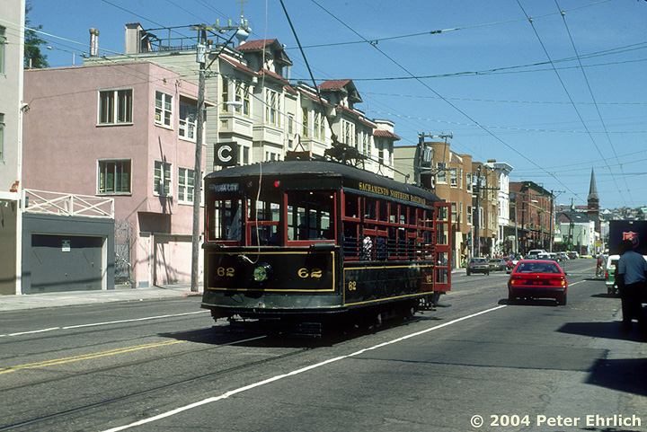 (190k, 720x481)<br><b>Country:</b> United States<br><b>City:</b> San Francisco/Bay Area, CA<br><b>System:</b> SF MUNI<br><b>Line:</b> MUNI Metro (J-Church)<br><b>Location:</b> Church/15th <br><b>Car:</b> Sacramento Northern Birney Saftey Car (American Car Co., 1920)  62 <br><b>Photo by:</b> Peter Ehrlich<br><b>Date:</b> 5/19/1984<br><b>Viewed (this week/total):</b> 2 / 2199