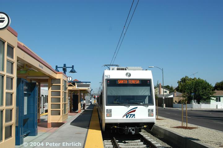 (121k, 720x478)<br><b>Country:</b> United States<br><b>City:</b> San Jose, CA<br><b>System:</b> Santa Clara VTA<br><b>Line:</b> VTA Tasman East/Capitol<br><b>Location:</b> Alum Rock <br><b>Car:</b> VTA Kinki-Sharyo 963 <br><b>Photo by:</b> Peter Ehrlich<br><b>Date:</b> 8/25/2004<br><b>Viewed (this week/total):</b> 0 / 1227