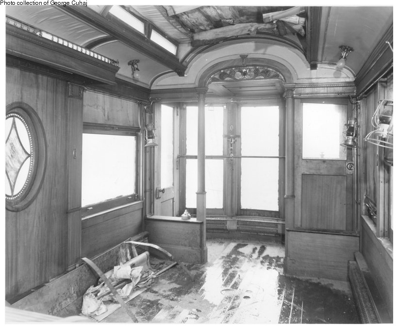 (137k, 820x679)<br><b>Country:</b> United States<br><b>City:</b> East Haven/Branford, Ct.<br><b>System:</b> Shore Line Trolley Museum <br><b>Car:</b> Hi-V 3344 <i>Mineola</i> <br><b>Collection of:</b> George Cuhaj<br><b>Notes:</b> Belmont's <i>Mineola</i> at Magee Trolley Museum, Bloomsburg, PA, before coming to Shore Line, 1960s or early 1970s. Observation windows.<br><b>Viewed (this week/total):</b> 4 / 2049