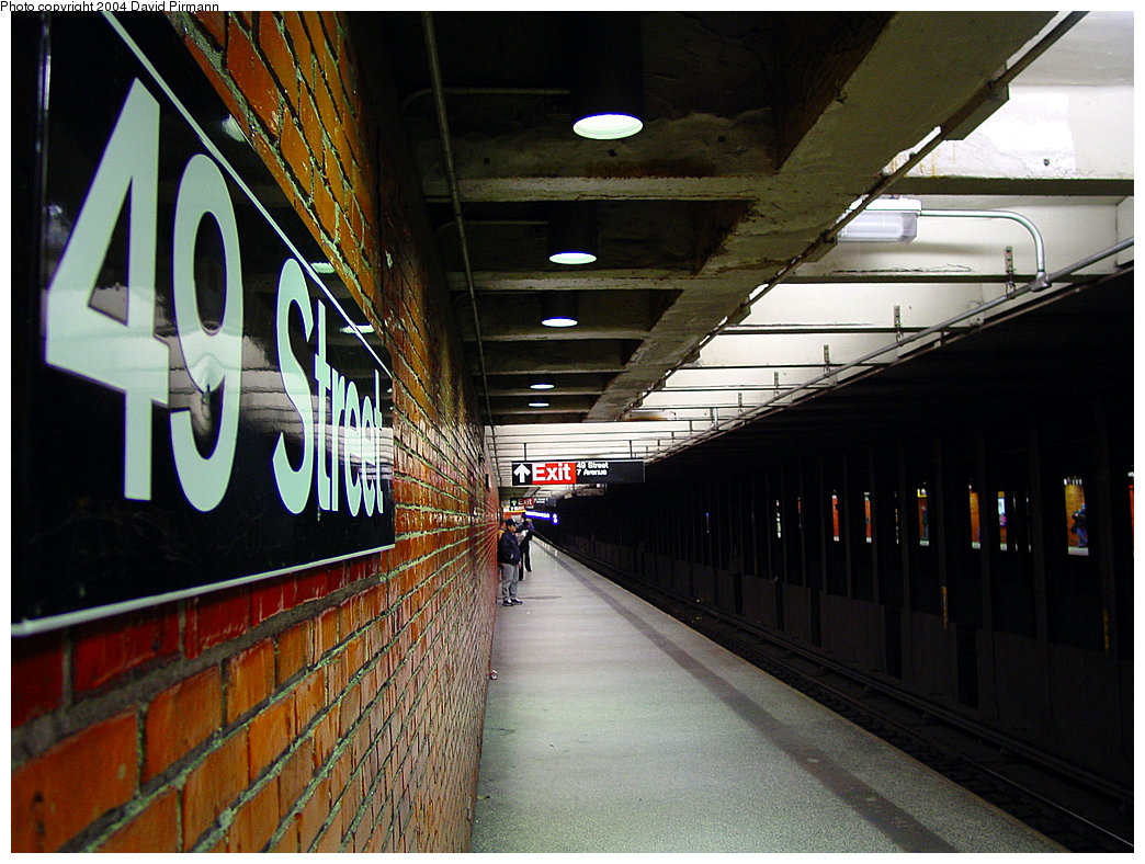 (236k, 1044x788)<br><b>Country:</b> United States<br><b>City:</b> New York<br><b>System:</b> New York City Transit<br><b>Line:</b> BMT Broadway Line<br><b>Location:</b> 49th Street <br><b>Photo by:</b> David Pirmann<br><b>Date:</b> 11/19/2004<br><b>Notes:</b> View of southbound platform.<br><b>Viewed (this week/total):</b> 0 / 3895