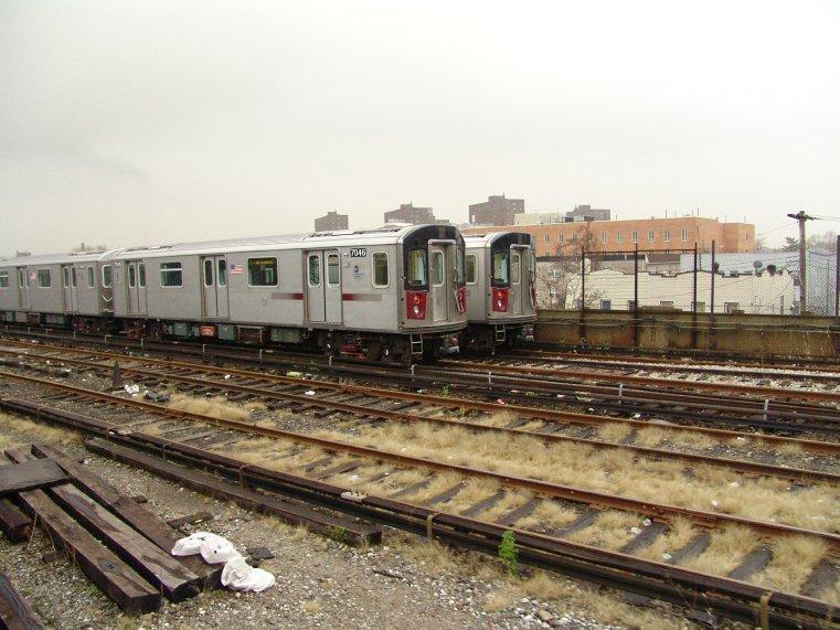 (98k, 761x571)<br><b>Country:</b> United States<br><b>City:</b> New York<br><b>System:</b> New York City Transit<br><b>Location:</b> Livonia Yard<br><b>Car:</b> R-142 (Option Order, Bombardier, 2002-2003)  7046 <br><b>Photo by:</b> Richard Panse<br><b>Date:</b> 11/21/2004<br><b>Viewed (this week/total):</b> 3 / 8309