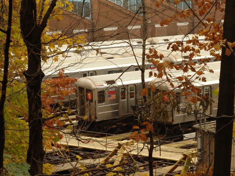 (149k, 749x562)<br><b>Country:</b> United States<br><b>City:</b> New York<br><b>System:</b> New York City Transit<br><b>Location:</b> 240th Street Yard<br><b>Car:</b> R-62A (Bombardier, 1984-1987)  2420/2401 <br><b>Photo by:</b> Richard Panse<br><b>Date:</b> 11/21/2004<br><b>Viewed (this week/total):</b> 1 / 5107