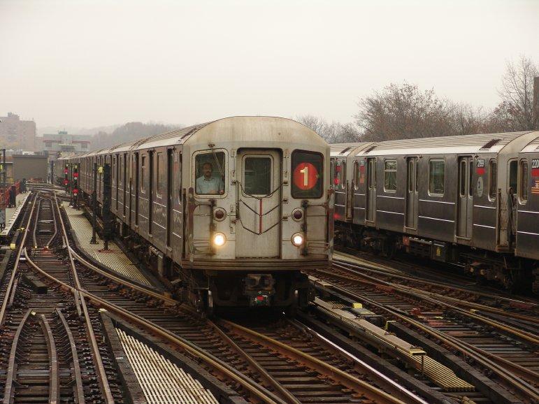 (100k, 771x578)<br><b>Country:</b> United States<br><b>City:</b> New York<br><b>System:</b> New York City Transit<br><b>Line:</b> IRT West Side Line<br><b>Location:</b> 238th Street <br><b>Route:</b> 1<br><b>Car:</b> R-62A (Bombardier, 1984-1987)   <br><b>Photo by:</b> Richard Panse<br><b>Date:</b> 11/21/2004<br><b>Viewed (this week/total):</b> 0 / 3823