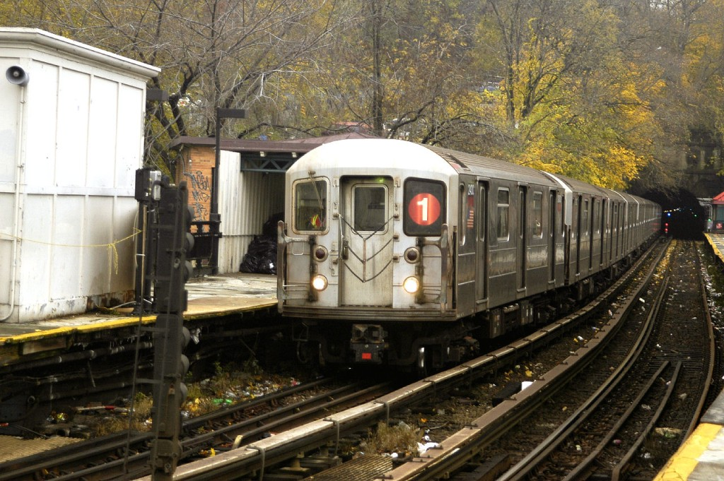 (233k, 1024x681)<br><b>Country:</b> United States<br><b>City:</b> New York<br><b>System:</b> New York City Transit<br><b>Line:</b> IRT West Side Line<br><b>Location:</b> Dyckman Street <br><b>Route:</b> 1<br><b>Car:</b> R-62A (Bombardier, 1984-1987)  2430 <br><b>Photo by:</b> Fred Guenther<br><b>Date:</b> 11/21/2004<br><b>Viewed (this week/total):</b> 5 / 4665