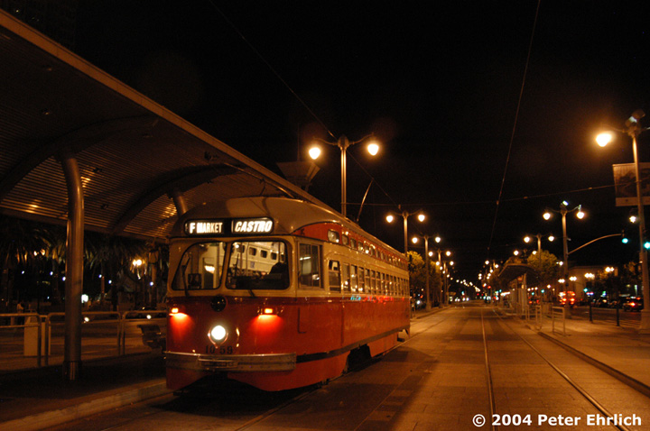 (136k, 720x478)<br><b>Country:</b> United States<br><b>City:</b> San Francisco/Bay Area, CA<br><b>System:</b> SF MUNI<br><b>Location:</b> Embarcadero/Ferry Building <br><b>Car:</b> SF MUNI PCC (Ex-SEPTA) (St. Louis Car Co., 1947-1948)  1059 <br><b>Photo by:</b> Peter Ehrlich<br><b>Date:</b> 10/11/2004<br><b>Viewed (this week/total):</b> 0 / 1019