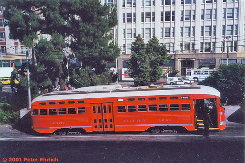 (175k, 792x527)<br><b>Country:</b> United States<br><b>City:</b> San Francisco/Bay Area, CA<br><b>System:</b> SF MUNI<br><b>Location:</b> Transbay Terminal <br><b>Car:</b> SF MUNI PCC (Ex-SEPTA) (St. Louis Car Co., 1947-1948)  1061 <br><b>Photo by:</b> Peter Ehrlich<br><b>Date:</b> 5/30/2000<br><b>Notes:</b> Transbay Terminal.  For a time, even after the F line was extended to Fisherman's Wharf, the Transbay Terminal would sometimes be used for emergency switchbacks.<br><b>Viewed (this week/total):</b> 0 / 1135