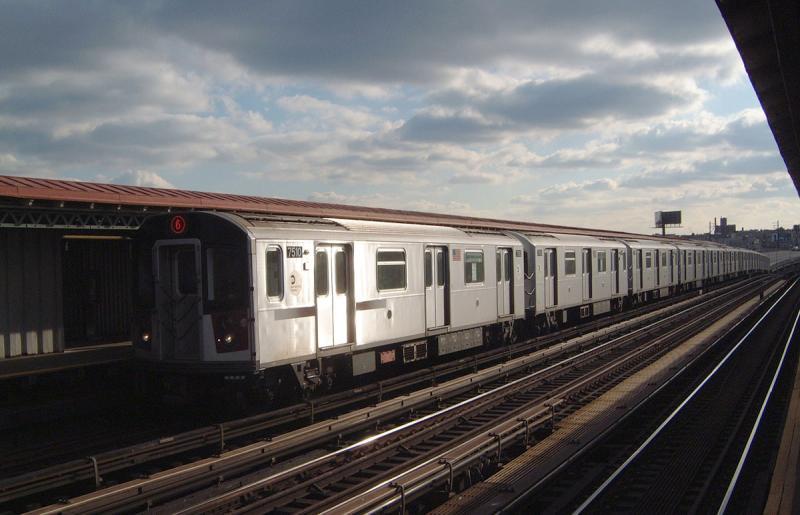 (55k, 800x515)<br><b>Country:</b> United States<br><b>City:</b> New York<br><b>System:</b> New York City Transit<br><b>Line:</b> IRT Pelham Line<br><b>Location:</b> Whitlock Avenue <br><b>Route:</b> 6<br><b>Car:</b> R-142A (Primary Order, Kawasaki, 1999-2002)  7510 <br><b>Photo by:</b> Bob Vogel<br><b>Date:</b> 12/20/2003<br><b>Viewed (this week/total):</b> 0 / 3264