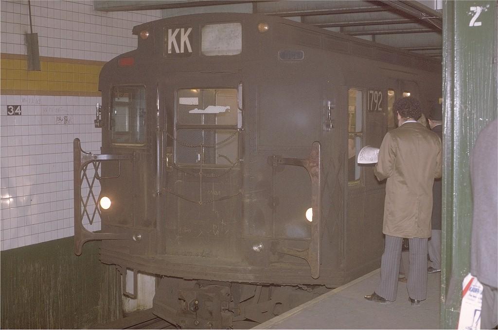 (173k, 1024x680)<br><b>Country:</b> United States<br><b>City:</b> New York<br><b>System:</b> New York City Transit<br><b>Line:</b> IND 6th Avenue Line<br><b>Location:</b> 34th Street/Herald Square <br><b>Route:</b> KK<br><b>Car:</b> R-9 (Pressed Steel, 1940)  1792 <br><b>Photo by:</b> Joe Testagrose<br><b>Date:</b> 12/1/1970<br><b>Viewed (this week/total):</b> 0 / 3525