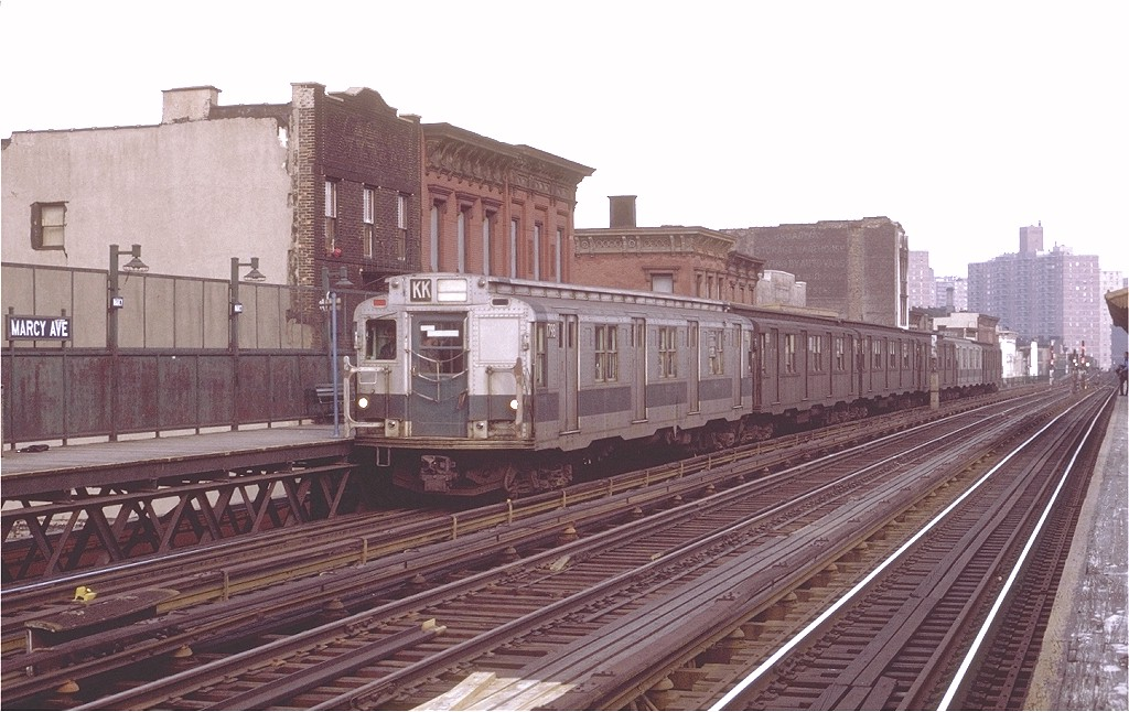 (193k, 1024x646)<br><b>Country:</b> United States<br><b>City:</b> New York<br><b>System:</b> New York City Transit<br><b>Line:</b> BMT Nassau Street/Jamaica Line<br><b>Location:</b> Marcy Avenue <br><b>Route:</b> KK<br><b>Car:</b> R-9 (Pressed Steel, 1940)  1798 <br><b>Photo by:</b> Joe Testagrose<br><b>Date:</b> 4/9/1971<br><b>Viewed (this week/total):</b> 0 / 2464