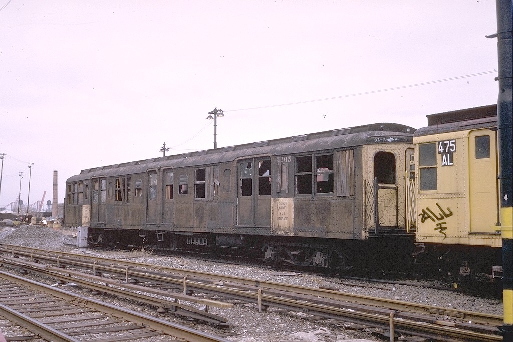 (209k, 1024x682)<br><b>Country:</b> United States<br><b>City:</b> New York<br><b>System:</b> New York City Transit<br><b>Location:</b> 36th Street Yard<br><b>Car:</b> BMT A/B-Type Standard 2205 <br><b>Photo by:</b> Steve Zabel<br><b>Collection of:</b> Joe Testagrose<br><b>Date:</b> 3/26/1974<br><b>Viewed (this week/total):</b> 2 / 2763