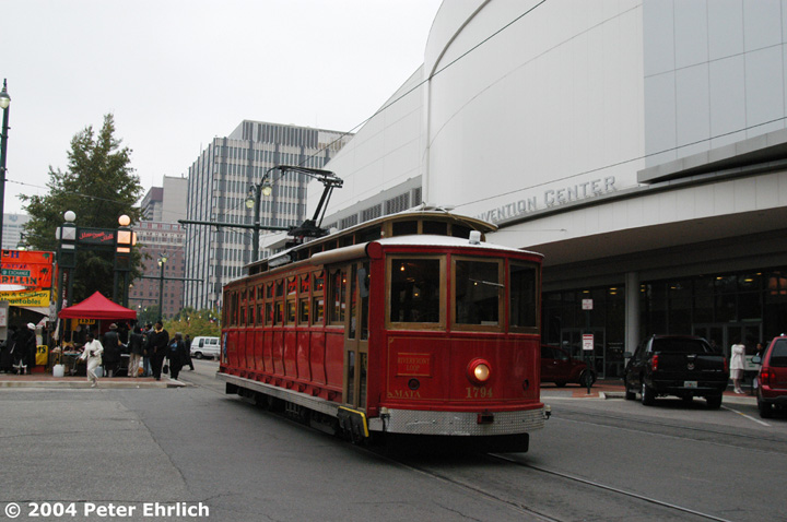 (126k, 720x478)<br><b>Country:</b> United States<br><b>City:</b> Memphis, TN<br><b>System:</b> MATA <br><b>Line:</b> Main St. Line <br><b>Location:</b> Exchange & Main <br><b>Car:</b> Rio de Janeiro Tram 1794 <br><b>Photo by:</b> Peter Ehrlich<br><b>Date:</b> 11/12/2004<br><b>Notes:</b> Main/Exchange Street (Convention Center).  1794 ex-Rio de Janeiro open car, rebuilt by MATA as closed car.<br><b>Viewed (this week/total):</b> 1 / 2669
