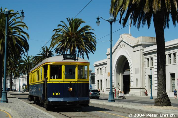 (183k, 720x478)<br><b>Country:</b> United States<br><b>City:</b> San Francisco/Bay Area, CA<br><b>System:</b> SF MUNI<br><b>Location:</b> Embarcadero/Sansome<br><b>Car:</b> SF MUNI B-Type (Jewett Car Co, 1914) 130 <br><b>Photo by:</b> Peter Ehrlich<br><b>Date:</b> 9/11/2003<br><b>Viewed (this week/total):</b> 1 / 825