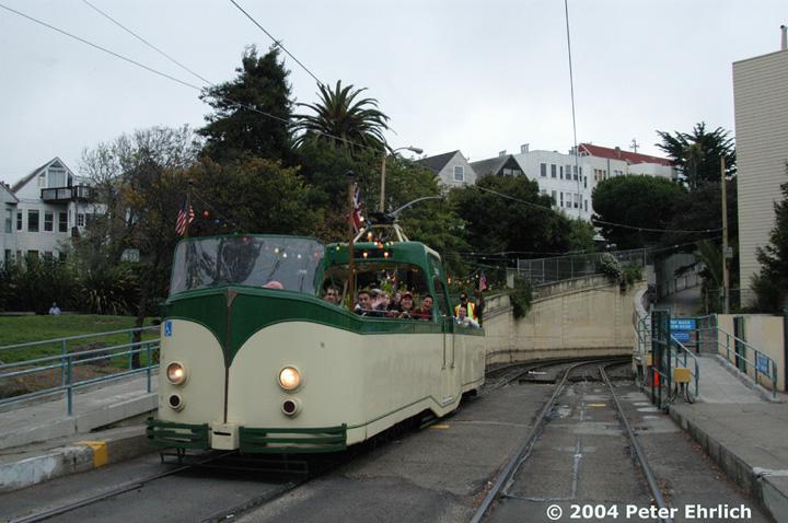 (146k, 720x478)<br><b>Country:</b> United States<br><b>City:</b> San Francisco/Bay Area, CA<br><b>System:</b> SF MUNI<br><b>Line:</b> MUNI Metro (N-Judah)<br><b>Location:</b> Sunset Tunnel West Portal <br><b>Car:</b> Blackpool Boat (English Electric, 1934)  228 <br><b>Photo by:</b> Peter Ehrlich<br><b>Date:</b> 10/3/2004<br><b>Notes:</b> At West Portal Sunset Tunnel outbound, N-Judah line.  Market Street Railway open house charter.<br><b>Viewed (this week/total):</b> 1 / 2578