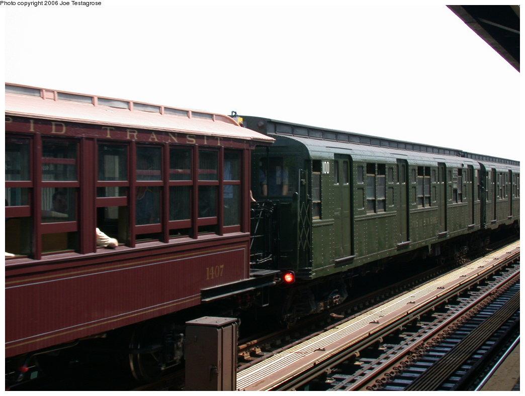 (172k, 1044x788)<br><b>Country:</b> United States<br><b>City:</b> New York<br><b>System:</b> New York City Transit<br><b>Line:</b> IND Fulton Street Line<br><b>Location:</b> 88th Street/Boyd Avenue <br><b>Route:</b> Fan Trip<br><b>Car:</b> BMT Elevated Gate Car 1407 <br><b>Photo by:</b> Joe Testagrose<br><b>Date:</b> 7/17/2004<br><b>Viewed (this week/total):</b> 0 / 2584