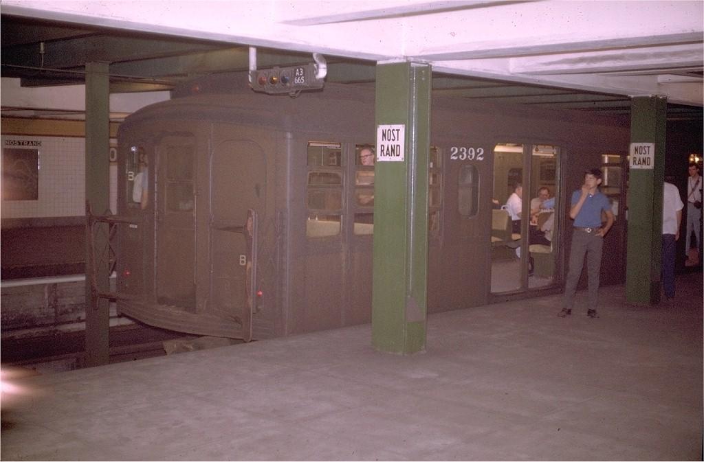 (161k, 1024x673)<br><b>Country:</b> United States<br><b>City:</b> New York<br><b>System:</b> New York City Transit<br><b>Line:</b> IND Fulton Street Line<br><b>Location:</b> Nostrand Avenue <br><b>Route:</b> Fan Trip<br><b>Car:</b> BMT A/B-Type Standard 2392 <br><b>Photo by:</b> Doug Grotjahn<br><b>Collection of:</b> Joe Testagrose<br><b>Date:</b> 8/23/1969<br><b>Notes:</b> Upper level.<br><b>Viewed (this week/total):</b> 0 / 4927