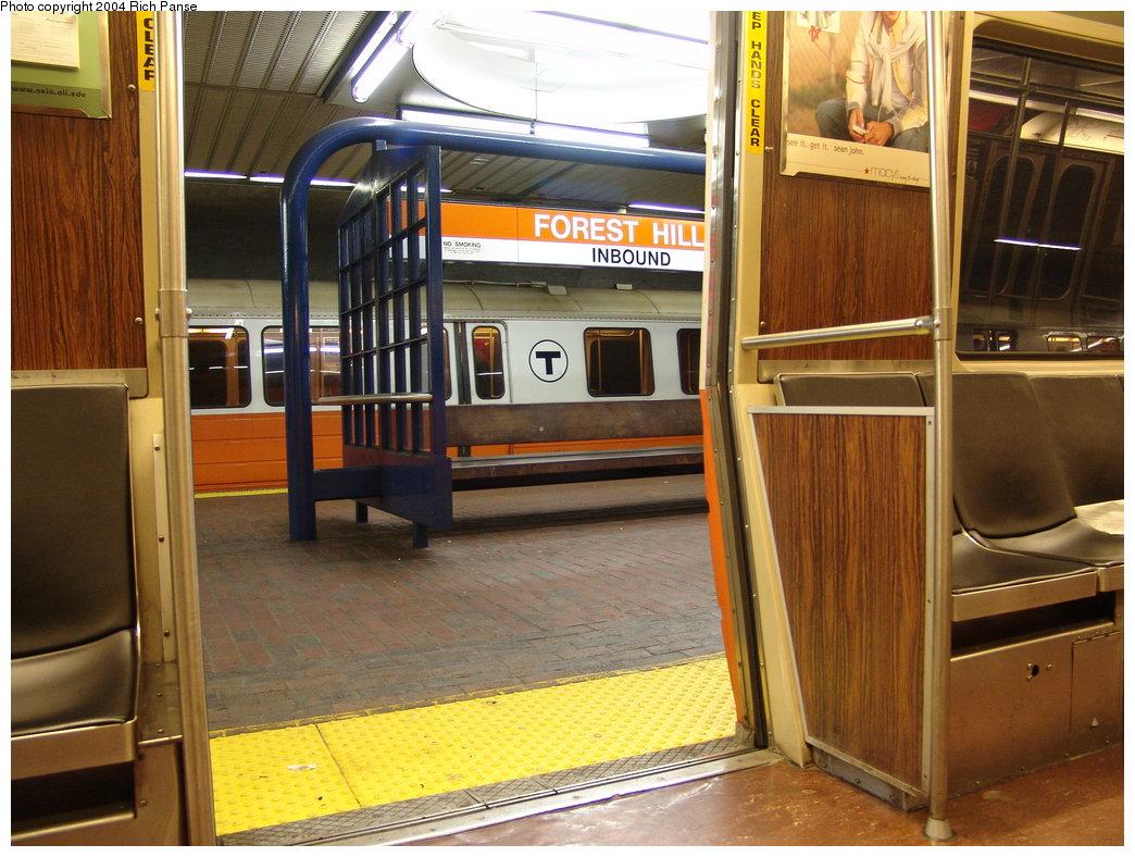 (209k, 1044x788)<br><b>Country:</b> United States<br><b>City:</b> Boston, MA<br><b>System:</b> MBTA<br><b>Line:</b> MBTA Orange Line<br><b>Location:</b> Forest Hills <br><b>Car:</b> MBTA 01200 Series (Hawker-Siddley, 1980-1981)   <br><b>Photo by:</b> Richard Panse<br><b>Date:</b> 9/18/2004<br><b>Viewed (this week/total):</b> 0 / 3208