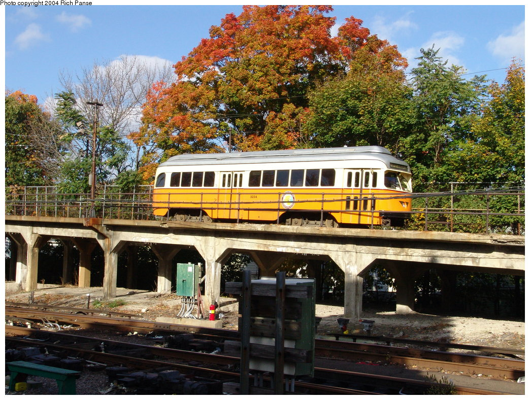 (313k, 1044x788)<br><b>Country:</b> United States<br><b>City:</b> Boston, MA<br><b>System:</b> MBTA<br><b>Line:</b> MBTA Mattapan-Ashmont Line<br><b>Location:</b> Ashmont <br><b>Car:</b> MBTA/BSRy PCC Wartime (Pullman-Standard, 1945-46)  3234 <br><b>Photo by:</b> Richard Panse<br><b>Date:</b> 10/26/2004<br><b>Viewed (this week/total):</b> 0 / 2667