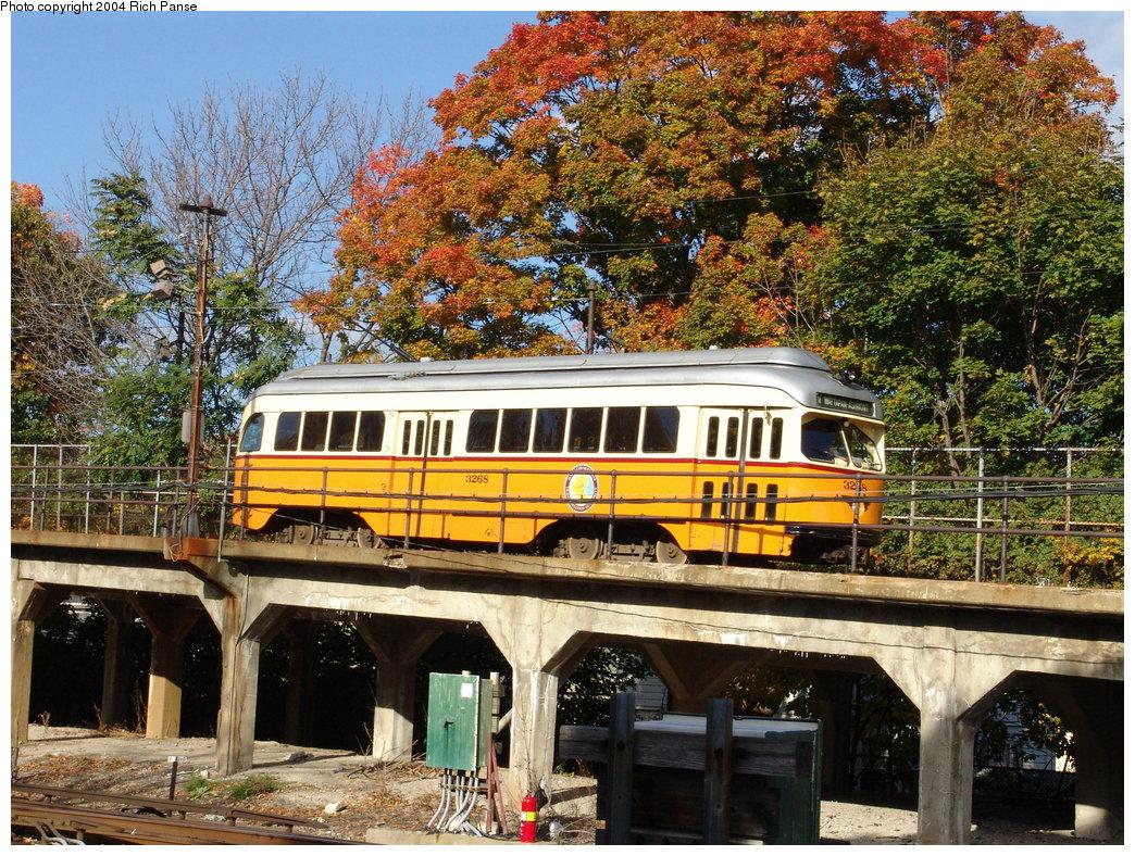 (338k, 1044x788)<br><b>Country:</b> United States<br><b>City:</b> Boston, MA<br><b>System:</b> MBTA<br><b>Line:</b> MBTA Mattapan-Ashmont Line<br><b>Location:</b> Ashmont <br><b>Car:</b> MBTA/BSRy PCC Wartime (Pullman-Standard, 1945-46)  3268 <br><b>Photo by:</b> Richard Panse<br><b>Date:</b> 10/26/2004<br><b>Viewed (this week/total):</b> 1 / 2967