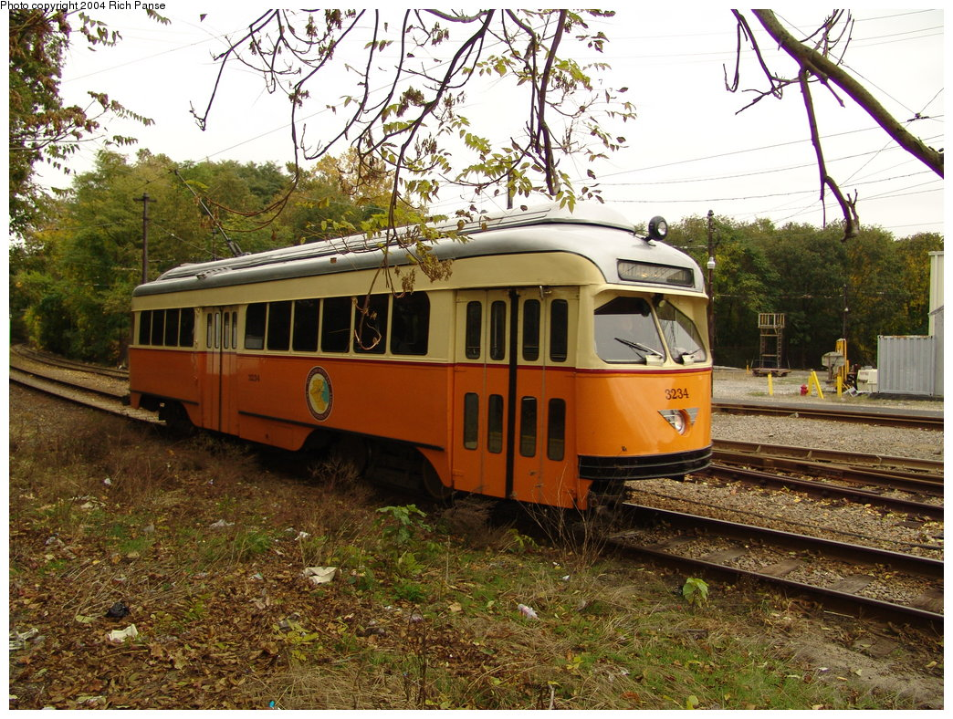 (288k, 1044x788)<br><b>Country:</b> United States<br><b>City:</b> Boston, MA<br><b>System:</b> MBTA<br><b>Line:</b> MBTA Mattapan-Ashmont Line<br><b>Location:</b> Mattapan <br><b>Car:</b> MBTA/BSRy PCC Wartime (Pullman-Standard, 1945-46)  3234 <br><b>Photo by:</b> Richard Panse<br><b>Date:</b> 10/26/2004<br><b>Viewed (this week/total):</b> 1 / 1475